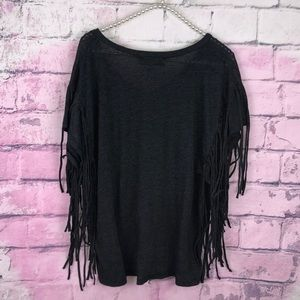 Wildfox Tops - Wildfox Wake Me At Sunset Fringe Gray Tee Festival
